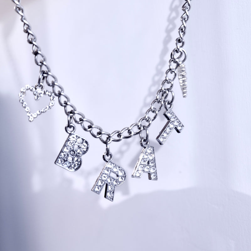 ♡BRAT♡/ ♡BABE♡ Rhinestone Necklace