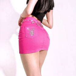 Mansion Bunny Low Rise Mini Skirt (Hot Pink)