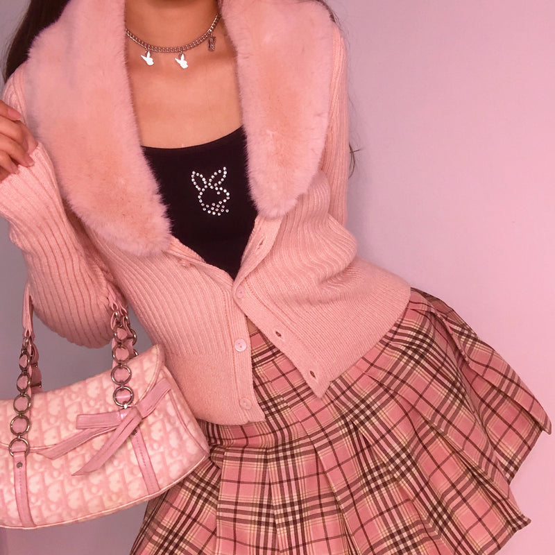 Dusty Peach High Waist Plaid Skirt