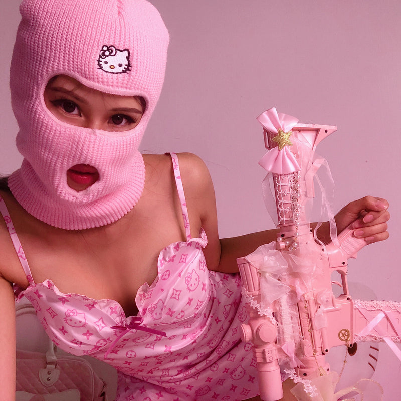 Not Your Kitty Balaclava (New Version) - Pink/ Hot Pink