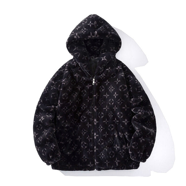Monogrammed Oversized Hoody Jacket (Black)