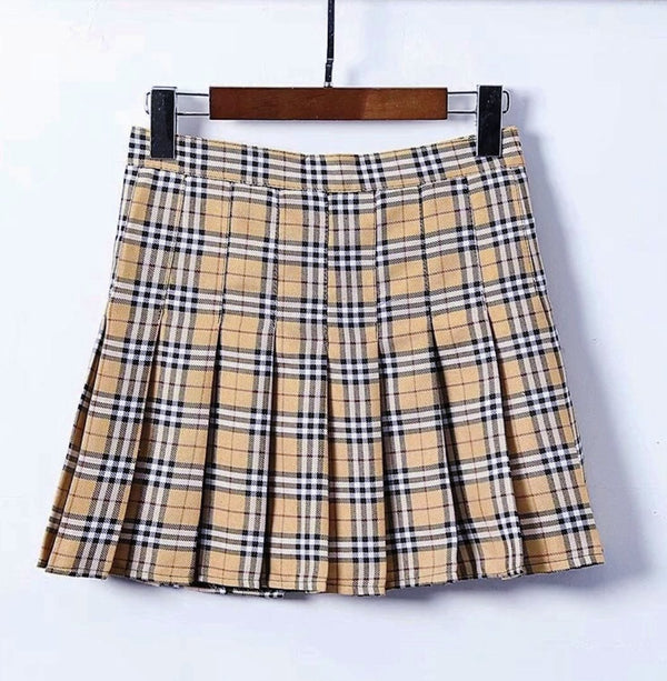 High Waist Plaid Tennis Skirt (4 Colors) (Size may run small)