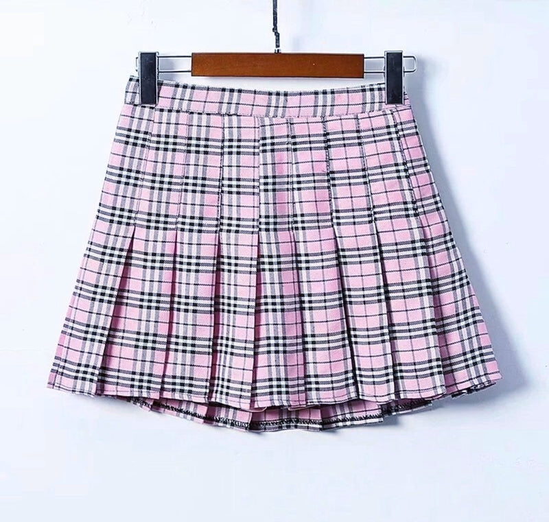 High Waist Plaid Tennis Skirt (4 Colors)