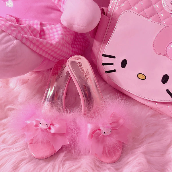 Kitty Heel Slippers (Pink)