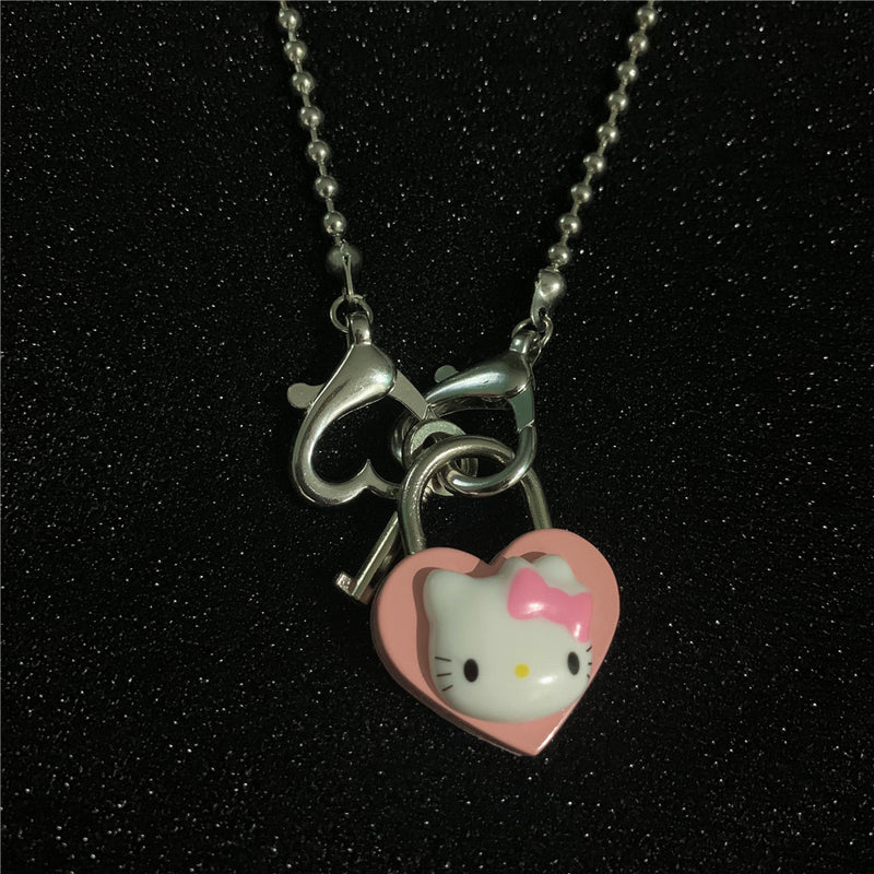 Kitty Heart Lock Ball chain Necklace
