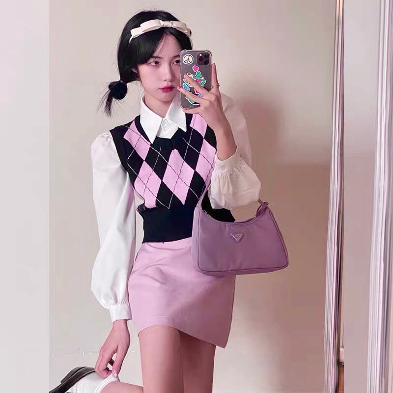 Pink Argyle Cropped Sweater Vest