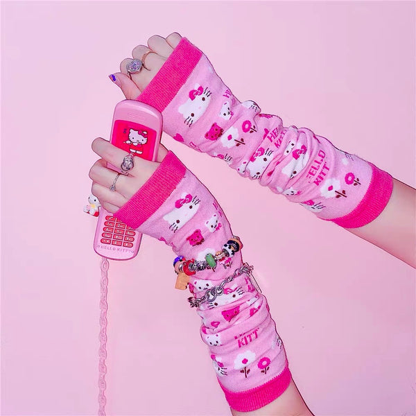 Pink Kitty Arm Sleeves (One Pair)