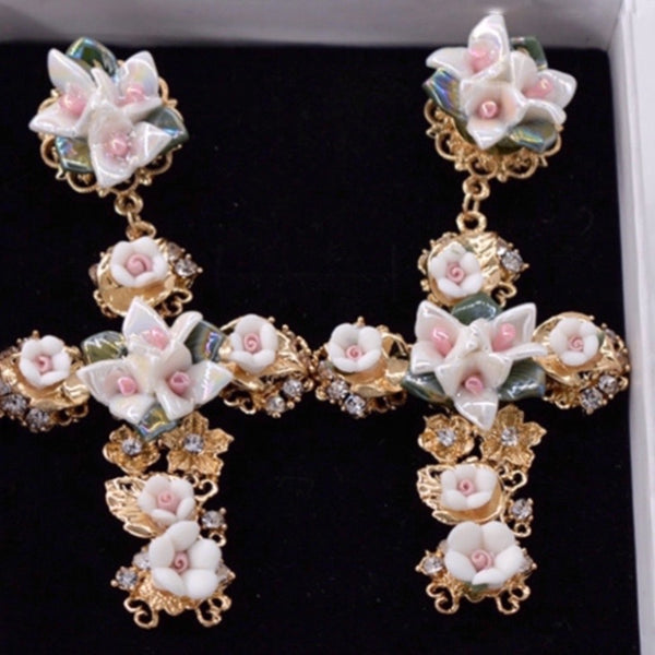 Floral Cross Ceramic Earrings