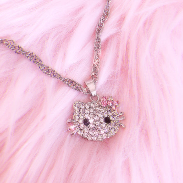 Rhinestone Kitty Necklace