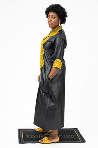 African Gold Embroidery Bazin Dress