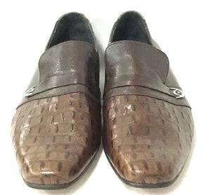 Men Brown Alligator Skin Leather Shoes