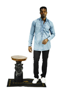 Men Embroidery Beads and Stones Shirt