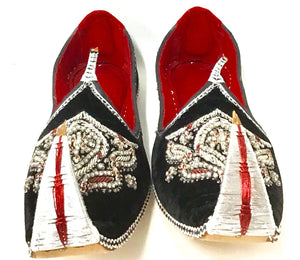 Men's Velvet Shoes With Beads Embroidery