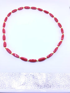 African Necklace Coral & Gold Beads