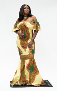Ankara Mermaid Tan Dashiki Dress