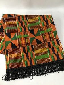 Kente head wrap & fringe