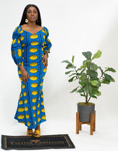 Ankara Long Sleeve Mermaid Dress Blue & Yellow