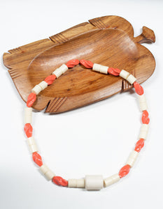 African Necklace Coral Two-Tone & Large Pendent