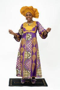 Ankara & Brocade Mixed Stone Dress