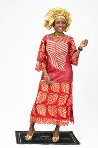 African Gold Leaves Embroidery Dress