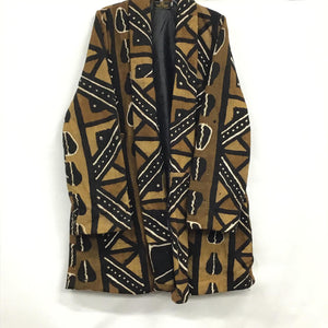 Mud Cloth Long Jacket Trench Coat