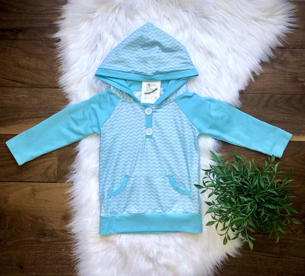NEW Boys or Unisex Aqua Chevron Hoodie