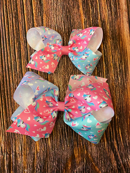 NEW Wee Ones Pastel Unicorn Heart Ombré Wee Ones Bows