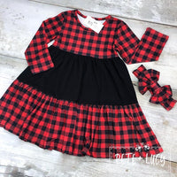 ***Preorder*** Red Buffalo Plaid Ruffle Dress Pete & Lucy
