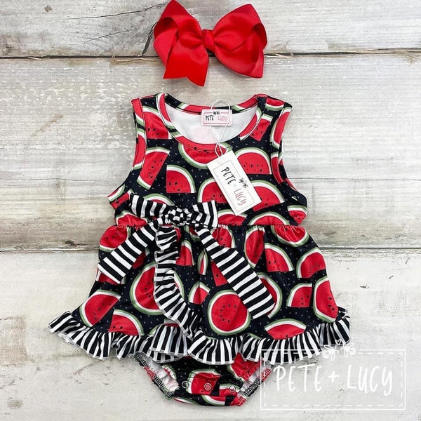 NEW Wacky Watermelon Infant Ruffle Romper