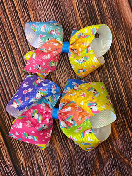 NEW Wee Ones Bold Unicorn Hearts Ombré Bow