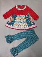 NEW Christmas Time Green Polka Dot Tripp's Ruffle Set
