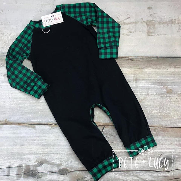Boys Green Buffalo Plaid Infant Romper