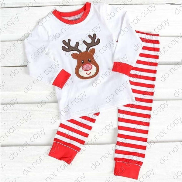 White Christmas No Bow Reindeer Pajamas Set Clearance