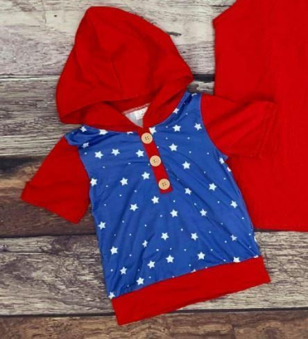 Boys Red, White, and Blue Short Sleeve Hoodie