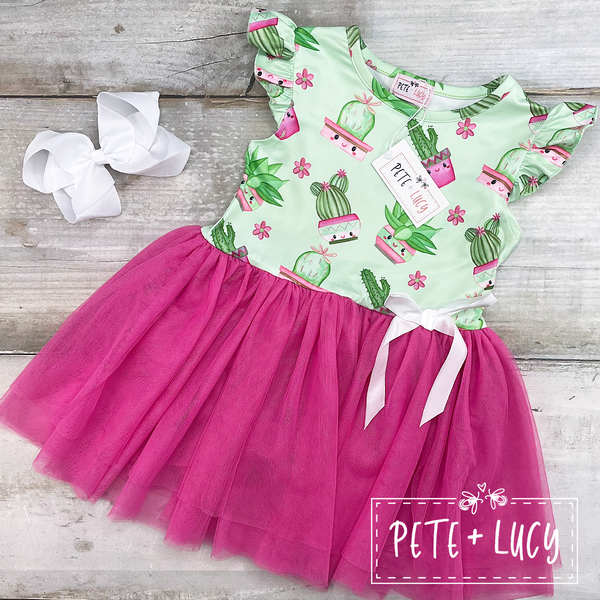 NEW Sweet Succulents Tulle Dress
