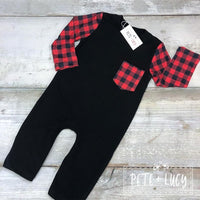 Red Buffalo Plaid Boys Infant Romper