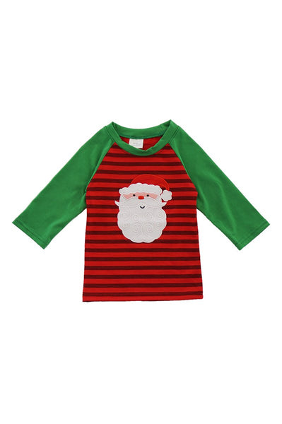 Red Stripe Santa Applique Raglan