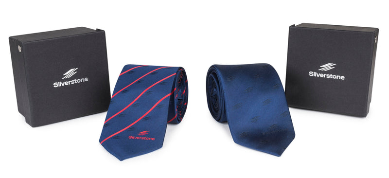 Silverstone Silk Tie New Logo Navy & Red