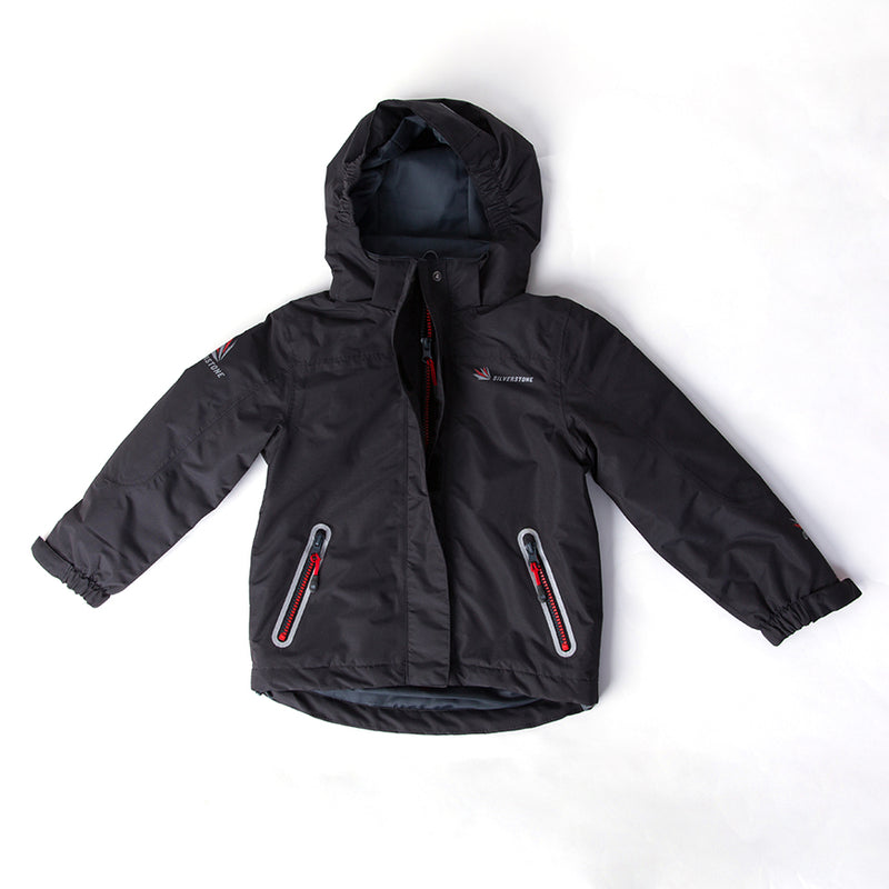 Child's Hooded Shell Coat - Black & Red
