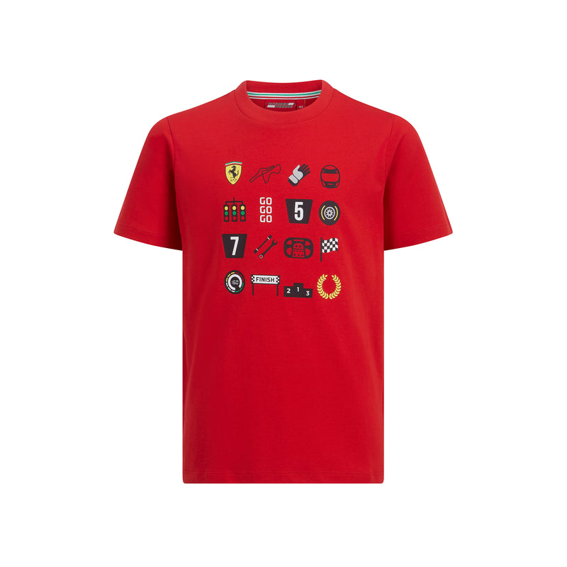 Ferrari Fan Wear Child's Graphic Tee Shirt - Red 2019