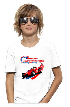 Kids Silverstone Classic White Red Car T-Shirt