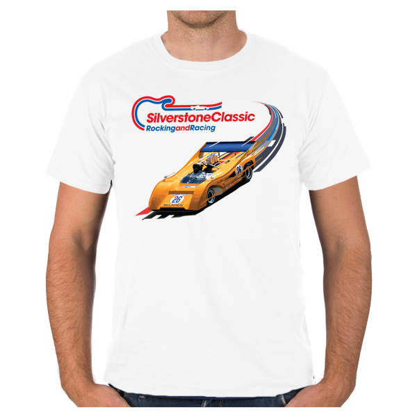 Kids Silverstone Classic White Yellow Car T-Shirt