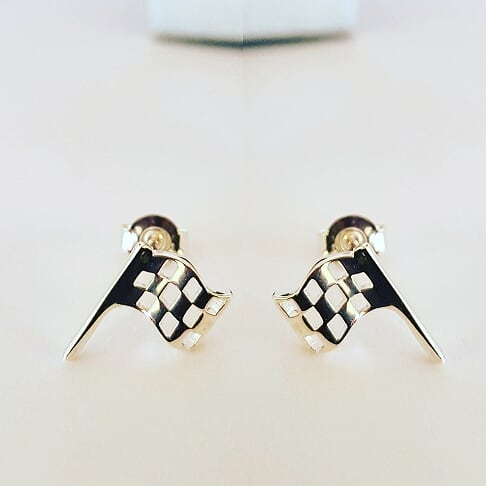 Sterling Silver Flag Stud Earrings