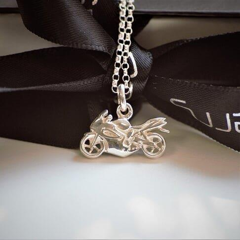 Ladies Motorbike Necklace in Sterling Silver