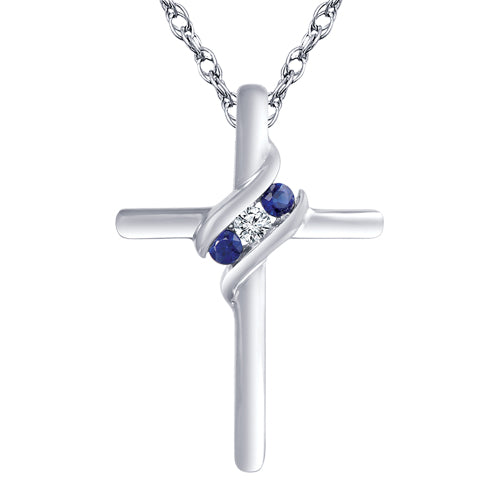 Diamond and sapphire cross pendant