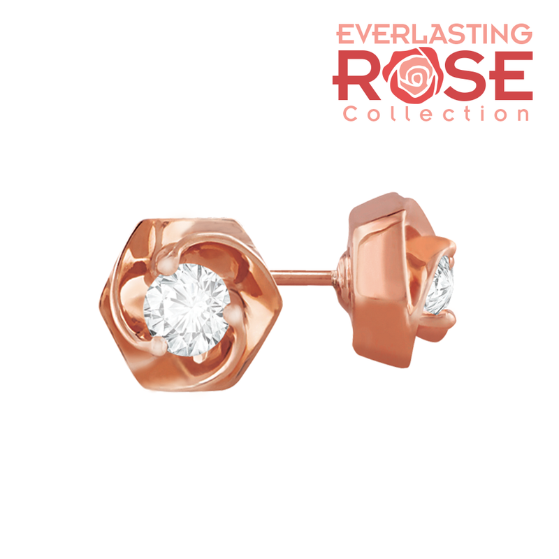 Diamond stud rose shaped rose gold earrings