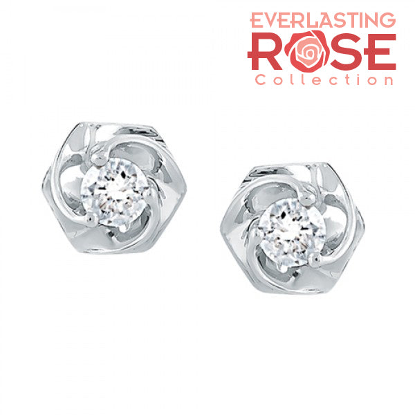 Rose with diamond stud earrings