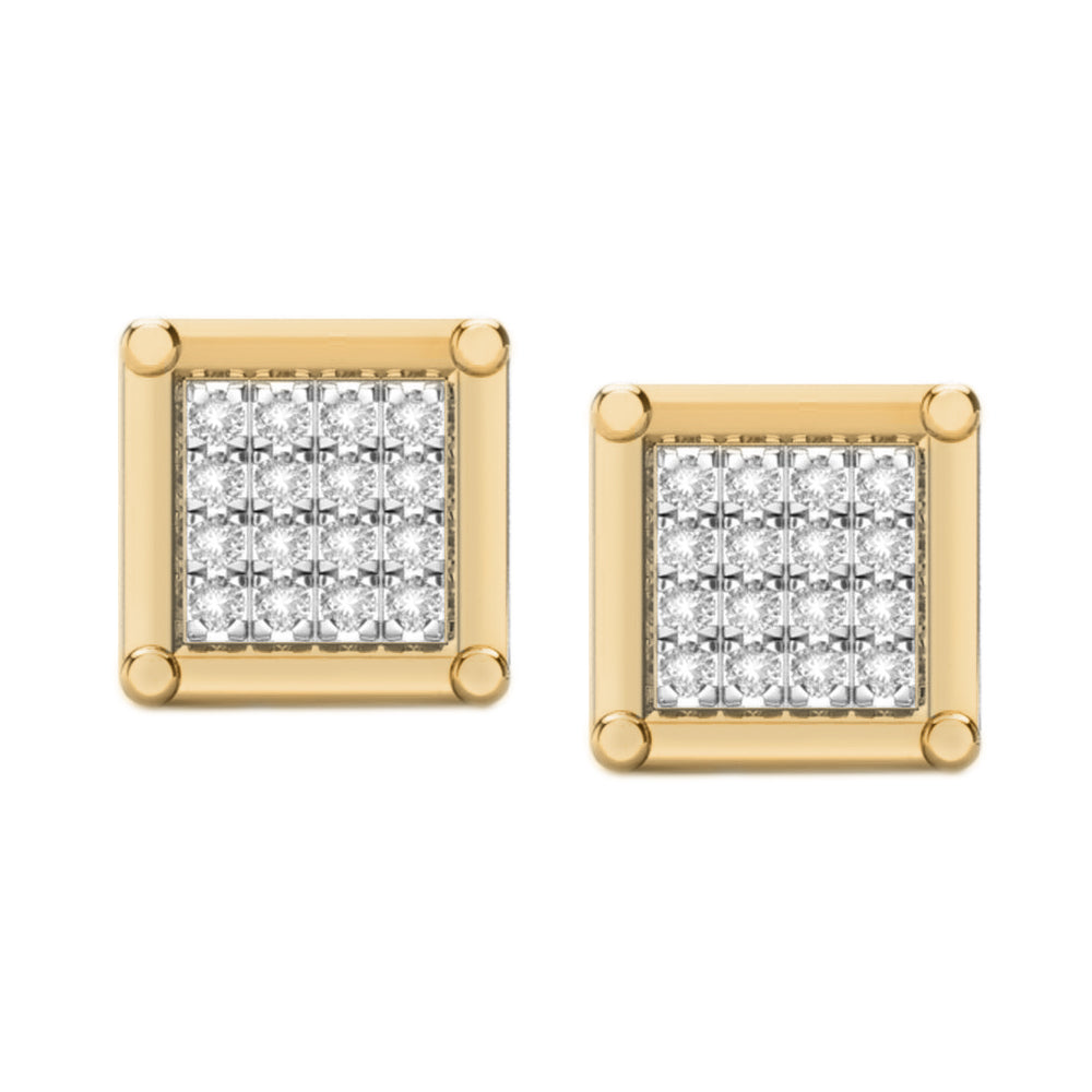 Square multi diamond stud earrings
