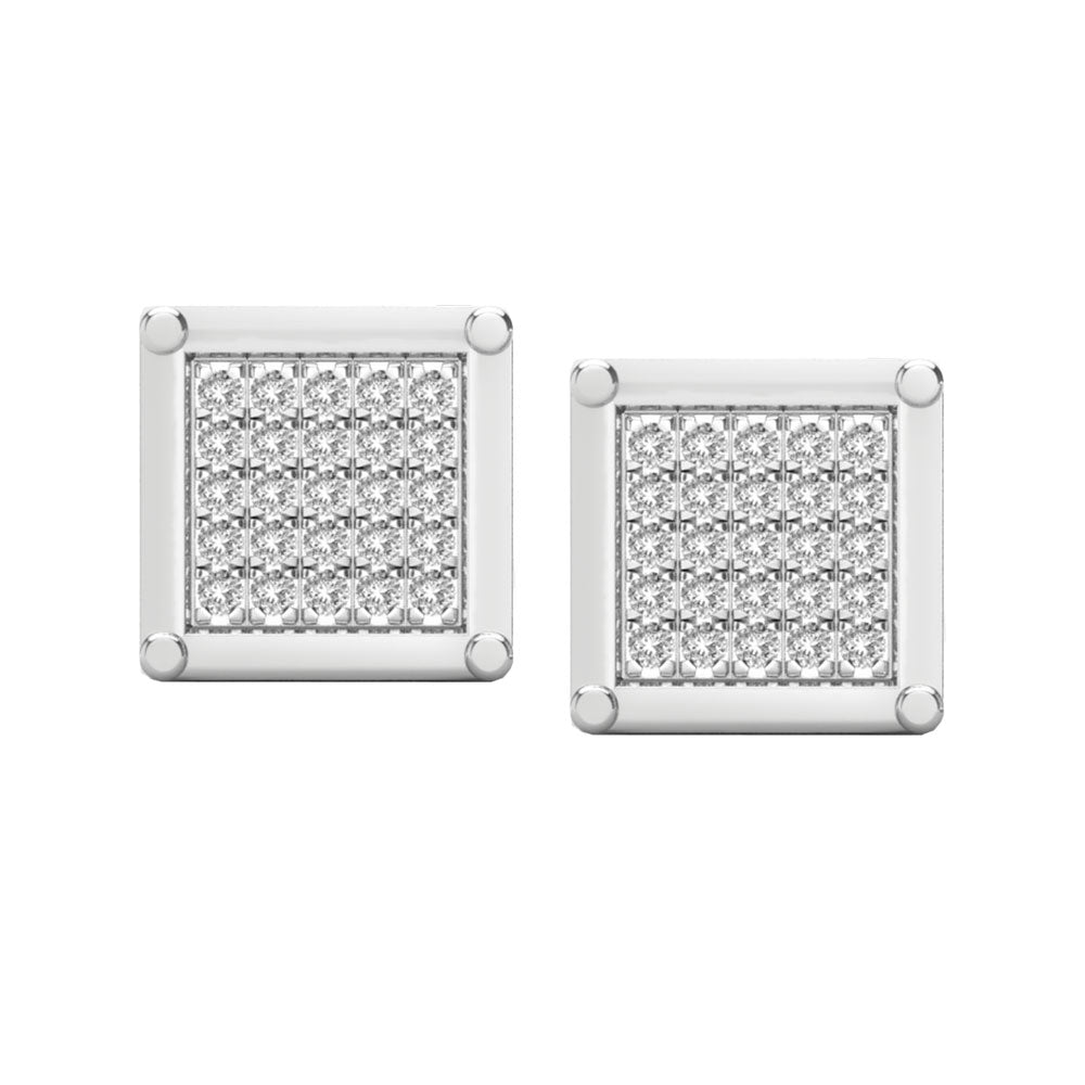 Square multi diamond white gold stud earrings