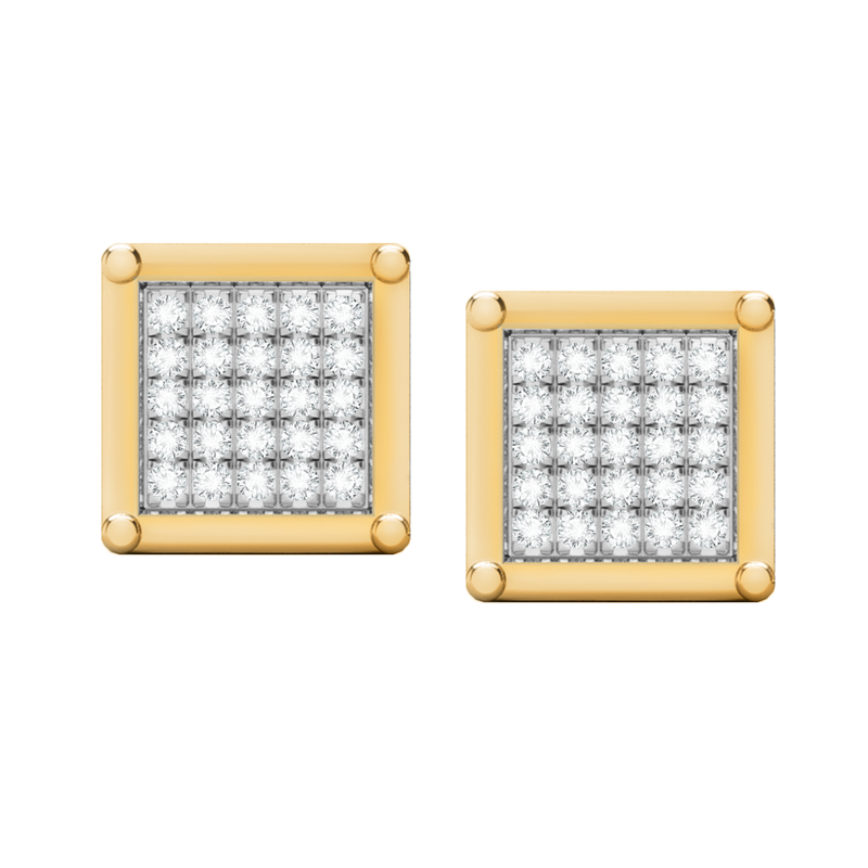 Square multi diamond yellow gold stud earrings